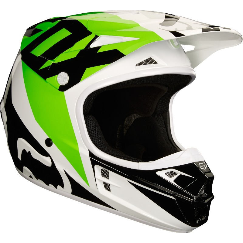 Fox V1 Race MX18 Helmet (white/black/green)